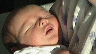 Carter as a newborn baby