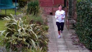 Natalie Silverstone training in her garden