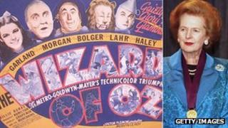 Wizard of Oz lobby card and Margaret Thatcher