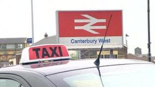 Taxi outside Canterbury West railway station