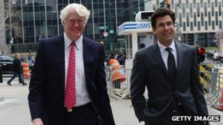 William Koch (left) arrives at court with his lawyer, in New York 12 April 2013