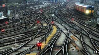 Railway tracks outside Clapham Junction station in London