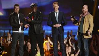 Stars of The Avengers accept the award for MTV Movie of the Year
