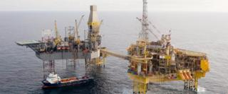 Total Elgin-Franklin oil and gas platform and tug in the North Sea
