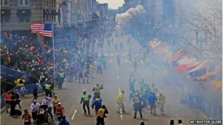 Image from the moment an explosion went off at the Boston Marathon, 15 April 2013