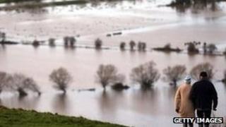 Flooding on the Somerset Levels at Glastonbury