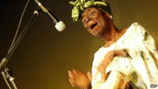 Taarab star Bi Fatuma Binti Baraka, popularly known as Bi Kidude, performs during a show in Nairobi, Kenya 13 October 2006