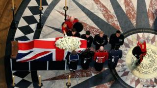 Margaret Thatcher's coffin lies in St Paul's cathedral