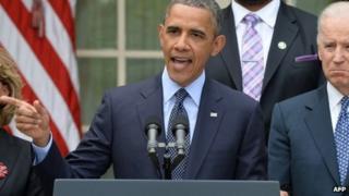 US President Barack Obama speaks on gun control in the Rose Garden of the White House in Washington, DC 17 April 2013