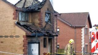 Fire-damaged house in Inverkip