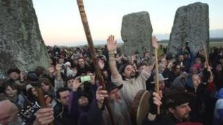 Druids celebrate winter solstice at Stonehenge in Wiltshire