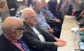 """Fathers"" of the Higgs, L-R: François Englert Peter Higgs, Gerald Guralnik and Carl Hagen"