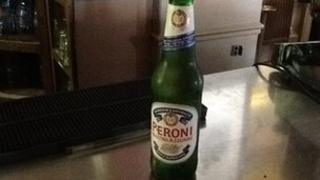 A bottle of Peroni