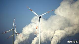 Coal power station and wind turbines