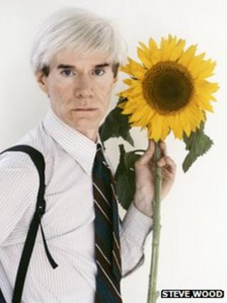 Andy Warhol with sunflower