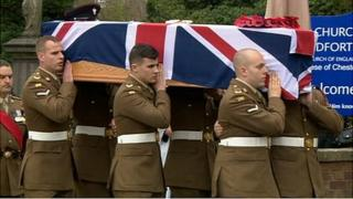 Soldiers carrying the coffin of L/Cpl Jamie Webb