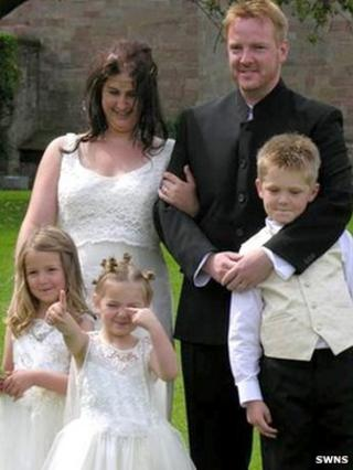 Ruth and Ceri Fuller with their children Sam, Rebecca and Charlotte at their wedding.