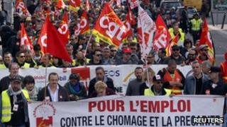 French unions protest against labour reforms in April