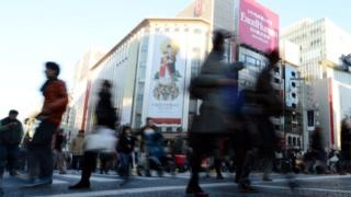 Shoppers in Ginza district