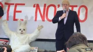Mayor Boris Johnson speaks at the rally