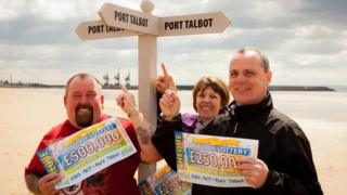 Peter Summers, Sarah Edwards and Jeff Davies who have won £1m with People's Postcode Lottery