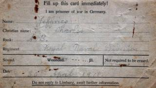 A Postcard sent by WW1 soldier Charles Jeffries sent from prisoner of war camp in Limburg