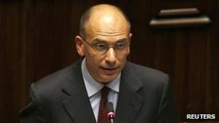 Italian Prime Minister Enrico Letta speaks in the lower house of parliament in Rome