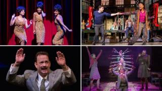 Clockwise from top left: Scenes from Motown the Musical, Kinky Boots, Matilda and Lucky Guy
