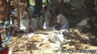 Bombed shelter in Valayanmadam, Sri Lanka March 2009
