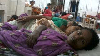 Merina Khatun in hospital in Dhaka
