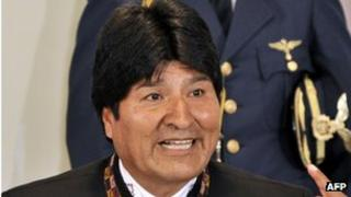 Evo Morales at a news conference on 16 April 2013