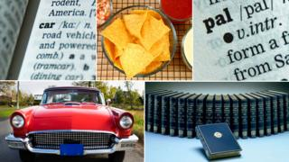 "Composite of dictionary terms referred to in piece: car (dictionary definition and picture); bowl of nachos; the word ""pal"", and a set of volumes from the OED"