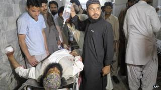 A man injured in a bomb blast on an election office of a political party in Quetta (1 May 2013)