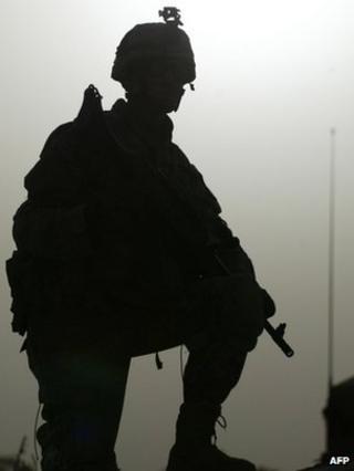US soldier on patrol