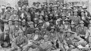 Dolcoath miners, Camborne, Cornwall, circa 1895