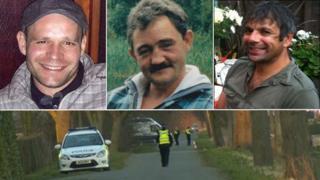 The bodies of Lukasz Slaboszewski (l), John Chapman (c) and Kevin Lee (r) were found in Cambridgeshire