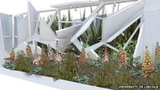 An image of the garden which will be separated by a Perspex wall.