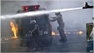 Riot police in Santiago
