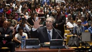 Efrain Rios Montt addresses the court in Guatemala City. 9 May 2013