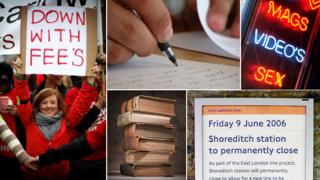 "Student holding placard apparently reading ""down with fee's"", although it could be a slip of the brush; handwriting; sex shop advertising ""video's; split infinitive in railway announcement; pile of books"