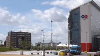Community In A Cube and Middlesbrough College buildings at Middlehaven