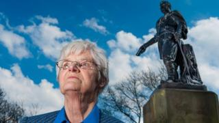 Elspeth Murdoch at the David Livingstone statue in Princes Street, Gardens, Edinburgh