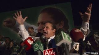 Nawaz Sharif, leader of political party Pakistan Muslim League-N (PMLN), addresses supporters during an election campaign rally on May 03, 2013 in Multan, Pakistan.