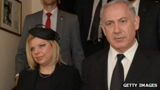 Israeli Prime Minister Benjamin Netanyahu and his wife Sara in the UK for Margaret Thatcher's funeral (17/04/13)