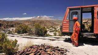 A worker stands next to a train on the Arica-La Paz railway (file photo)