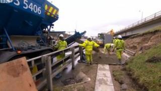 Work on the M62 managed motorway scheme