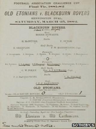 Page from the 1882 FA Cup Final programme