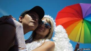 A couple poses during the gay pride parade at Copacabana beach in Rio de Janeiro, Brazil on 18 November, 2012