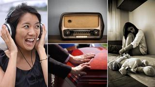 Composite image showing, clockwise from left: A woman laughing and wearing headphones, a radio, a teenage girl crying in her room and mourners touching a coffin at a funeral