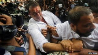 Sanjay Dutt outside the court on Thursday